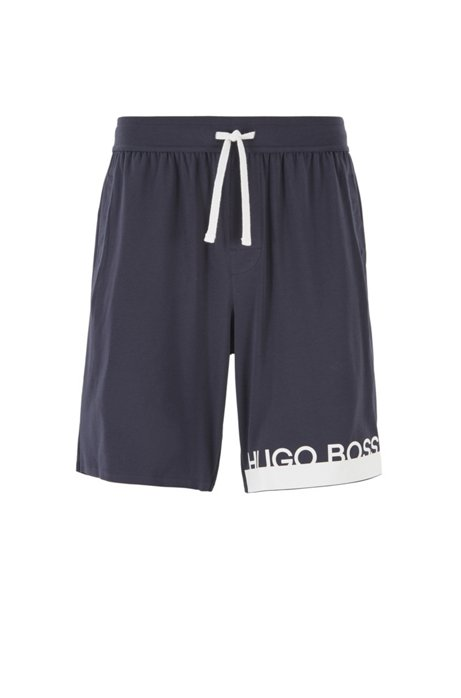 Jersey pyjama shorts with new-season logo, Dark Blue