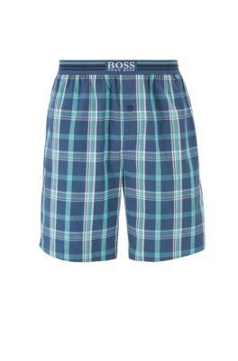 Pantaloncini del pigiama a quadri in cotone con logo in vita, Blu