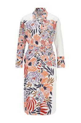 Hemdblusenkleid aus reiner Baumwolle mit Blumenprint, Gemustert
