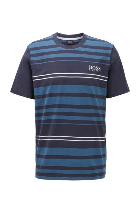 Pyjama-T-Shirt aus Baumwolle mit Querstreifen, Dunkelblau