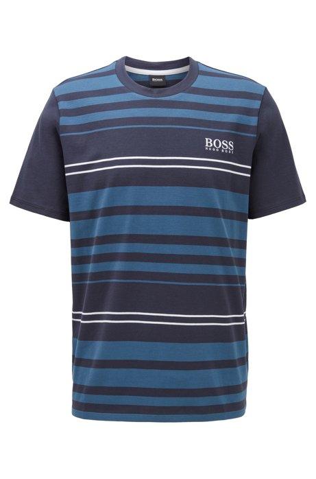 Pyjama-T-shirt van katoen met dwarsstrepen, Donkerblauw