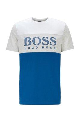 T-Shirt aus Jersey im Colour-Block-Design mit Logo-Print in Mesh-Optik, Blau