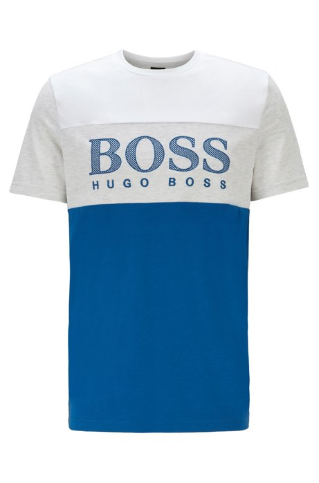 Colour-block T-shirt with mesh-effect logo print, Blue