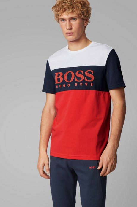 Colour-block T-shirt with mesh-effect logo print, Red
