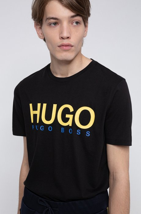 Logo-print T-shirt in single-jersey cotton, Black