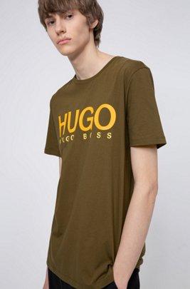 T-shirt in jersey di cotone con stampa del logo, Kaki
