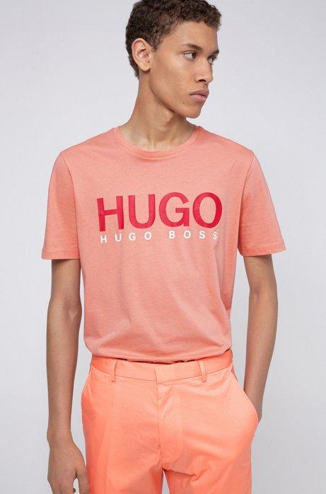 Camiseta con logo de punto sencillo de algodón, Naranja claro