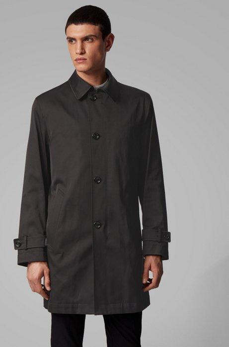 Manteau déperlant en twill de poids moyen, Noir