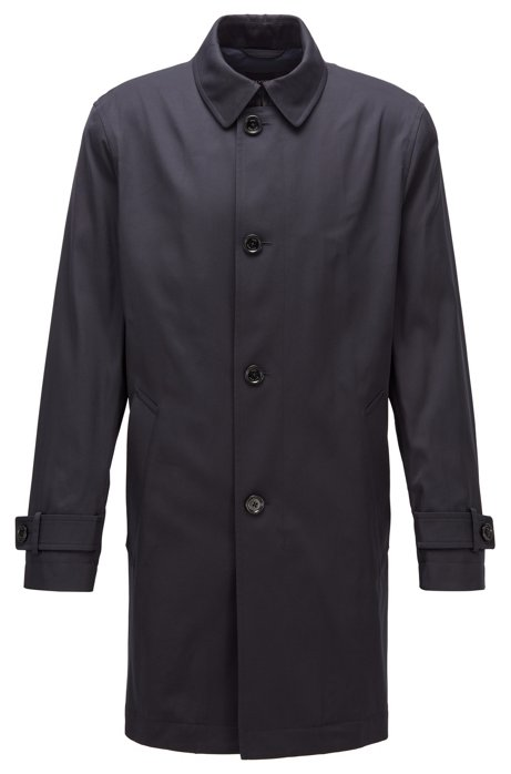 Cappotto idrorepellente in twill di medio peso, Blu scuro