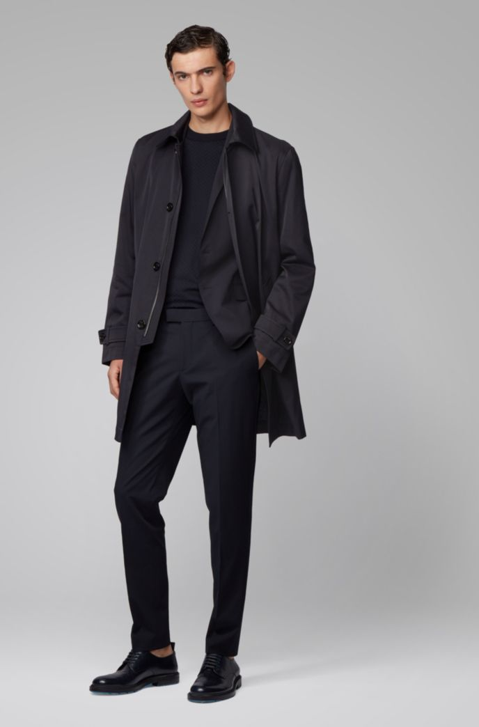 Water-repellent coat in midweight twill