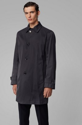 Water-repellent coat in midweight twill, Dark Blue
