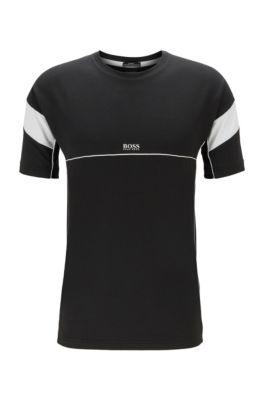 T-Shirt mit S.Café®-Fasern und Kontrast-Details, Schwarz