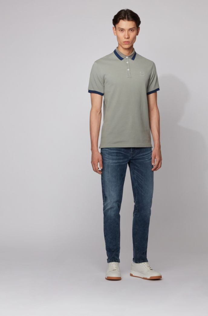 Slim-fit polo shirt with transparent-rubber detailing