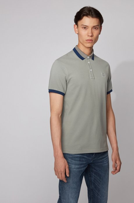 Slim-fit polo shirt with transparent-rubber detailing, Grey