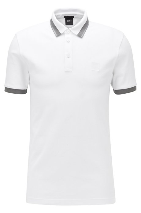 Slim-fit polo met transparante rubberdetails, Wit