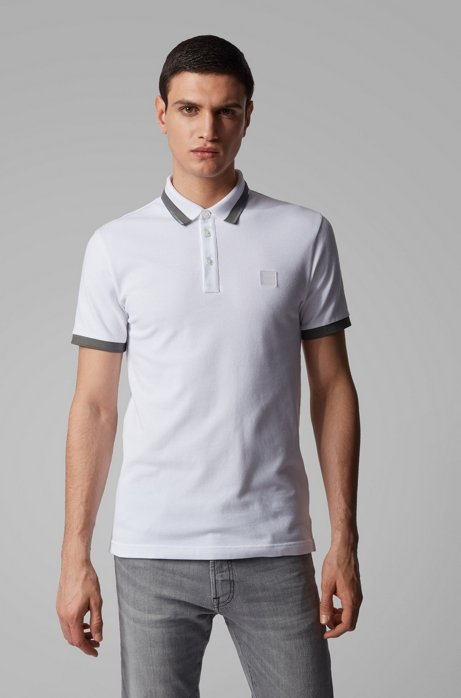 Slim-fit polo shirt with transparent-rubber trims, White