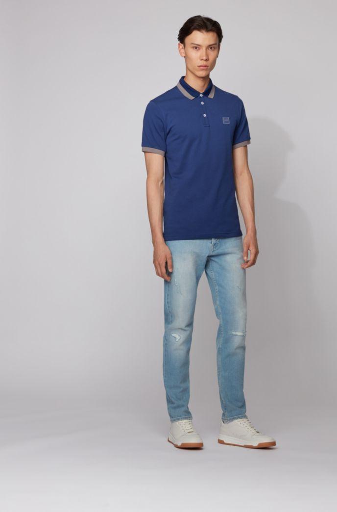 Slim-Fit Poloshirt mit transparenten Gummi-Details