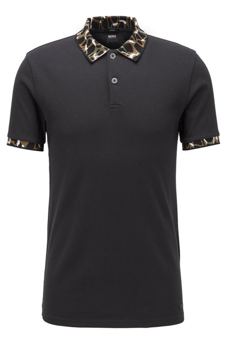 Slim-fit polo shirt with patterned collar and cuffs, Black