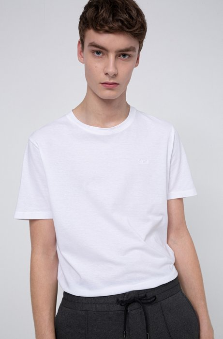 Regular-fit T-shirt  in cotton jersey with reverse logo, White