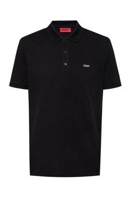 Regular-fit polo shirt with reversed-logo print, Black