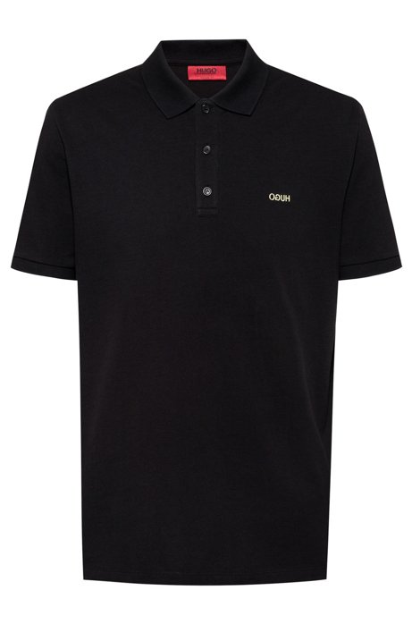 Regular-fit polo shirt with reversed-logo print, Black