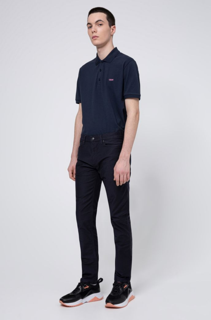 Regular-fit polo shirt with reversed-logo print