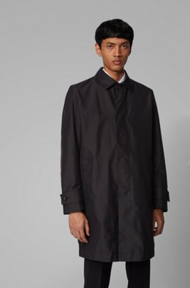 Packable car coat in water-repellent fabric, Black
