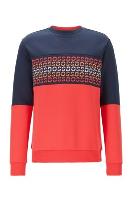 Cotton-blend sweatshirt with repeat-logo jacquard insert, Dark Blue
