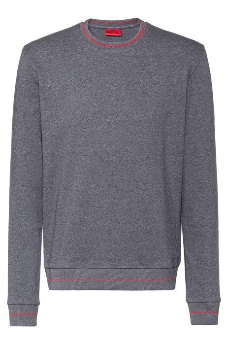 Regular-fit trui van sweatstof met logo aan de halslijn, Grijs