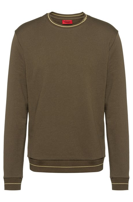 Regular-fit sweater in French terry with logo neckline, Khaki