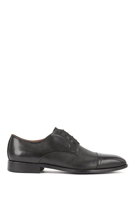 Cap-toe Derby shoes in smooth and printed leather, Black