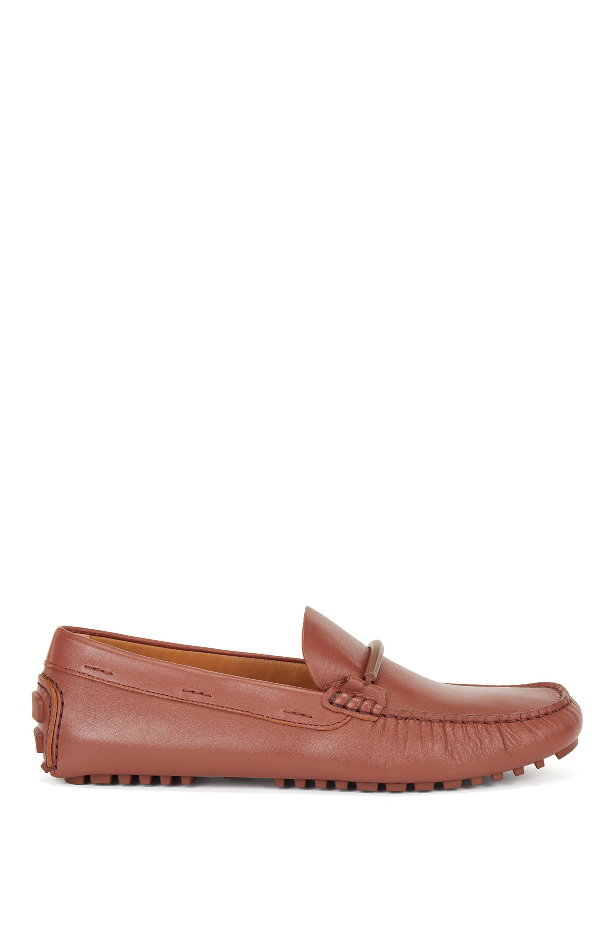 Driver-sole moccasins in leather with coloured-metal hardware, Brown