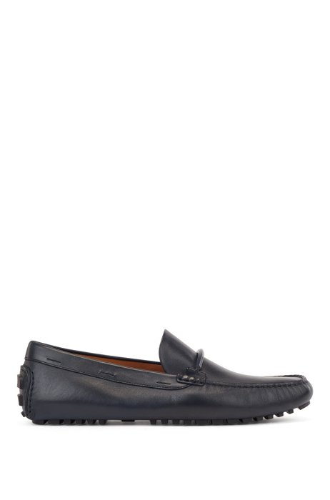 Driver-sole moccasins in leather with coloured-metal hardware, Dark Blue