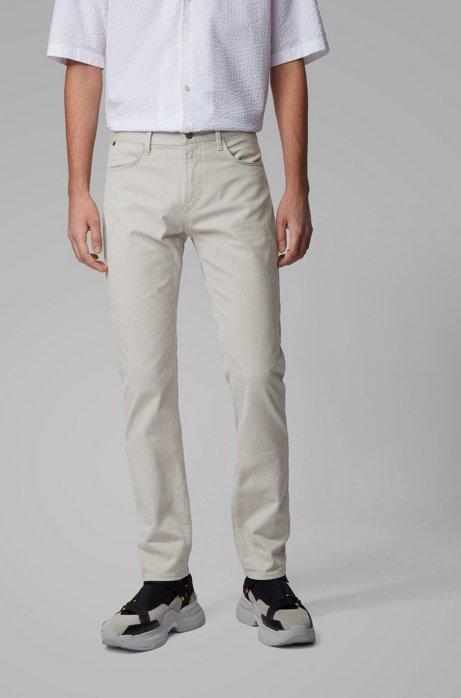Slim-fit jeans van stretchdenim met structuur, Grijs