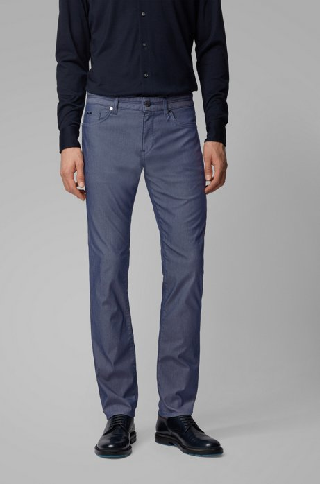 Jeans slim fit in denim elasticizzato bicolore, Blu scuro