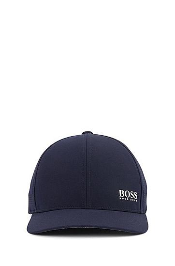 男士微孔侧面镶片徽标装饰运动帽,  410_海军蓝色