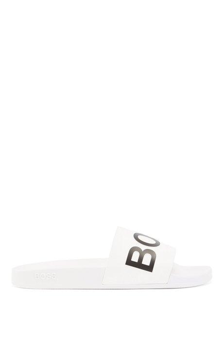 In Italië vervaardigde slippers met logoband met gevormde zool, Wit