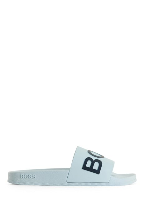Italian-made slides with logo strap and contoured sole, Light Blue