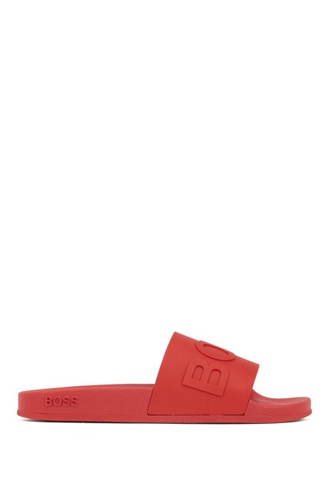 Italian-made slides with logo strap and contoured sole, Red