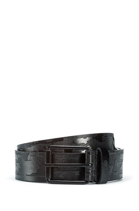 Italian-leather belt with embossed camouflage pattern, Black