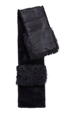 Schal aus mongolischem und regulärem Lammfell, Schwarz