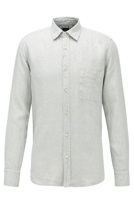 Regular-fit overhemd van linnen met details in giraffeprint, Zilver