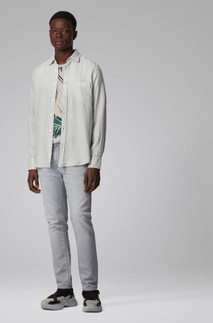 Regular-Fit Hemd aus Leinen mit Giraffen-Print-Details