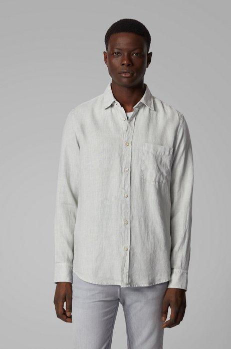 Regular-Fit Hemd aus Leinen mit Giraffen-Print-Details, Silber