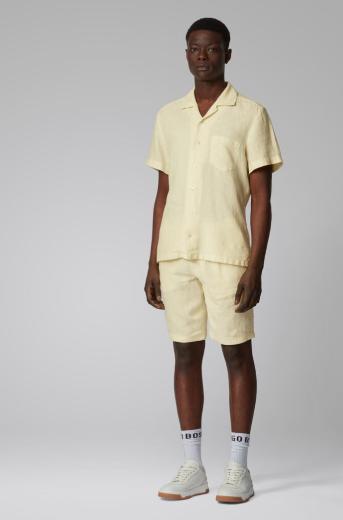 Regular-fit overhemd van linnen met campkraag