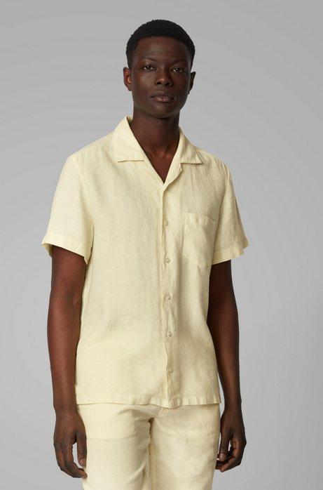 Regular-fit overhemd van linnen met campkraag, Lichtgeel