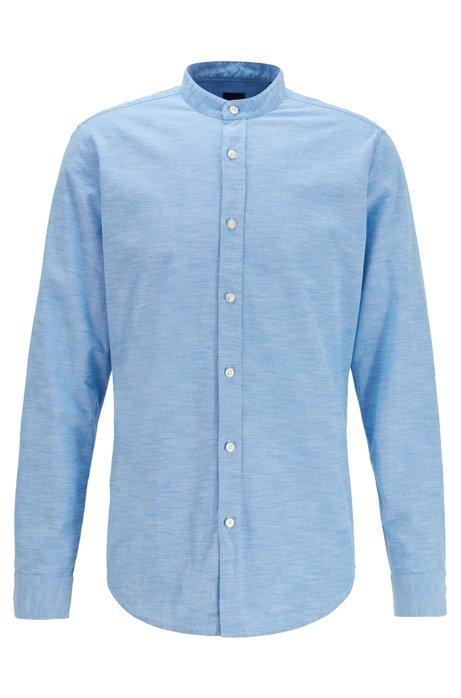 Regular-Fit Hemd aus soft angerauter Baumwolle mit Stehkragen, Blau