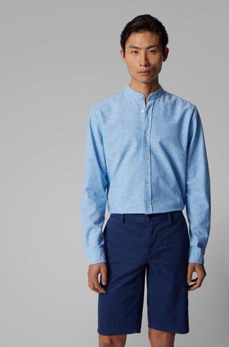 Camicia regular fit in cotone manopesca con colletto rialzato, Blu