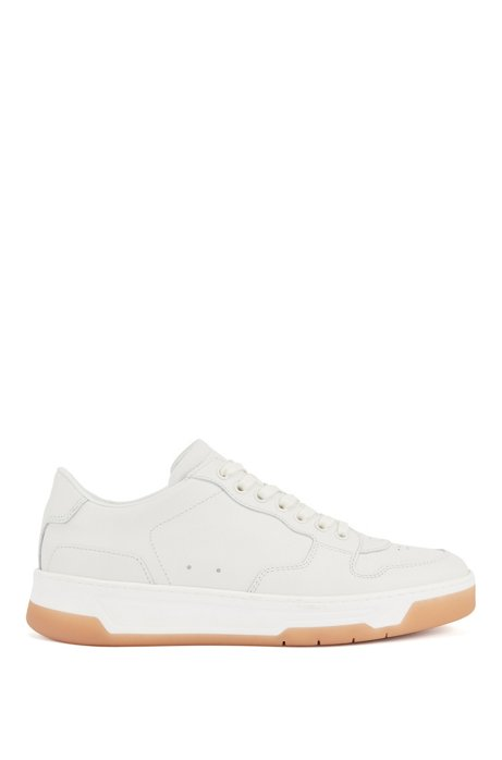 Italian-made trainers in leather with honey-hued outsole, White