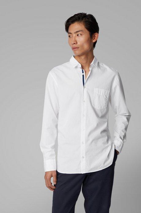 Chemise Slim Fit en coton lavé fil-à-fil, Blanc